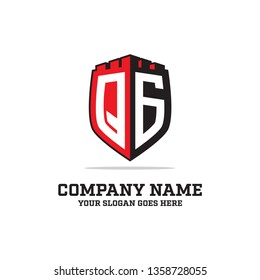 badge castle QG LOGO initial logo name,QG Letter  clean and strong brand vector