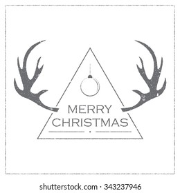 Badge for Christmas and New Year with deer horns on white background. Vector emblem with grunge effect for print on t-shirt. Design element for congratulation cards, flyers, banners.