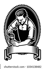 badge design of barista making the latte art