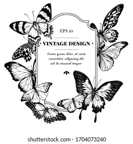 Badge design with black and white blue morpho, red lacewing, african giant swallowtail, alcides agathyrsus, great orange-tip, plain tiger