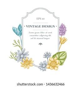 Badge design with pastel celandine, chamomile, peppermint
