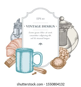 Badge design with pastel cinnamon, bar, croissants and bread, teapots, cups, sugar bowl, cookie and truffle