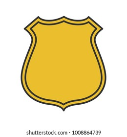 Badge, emblem color icon. Firefighter or policeman label. Isolated vector illustration