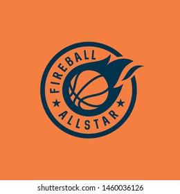 badge fire basketball vector icon logo design