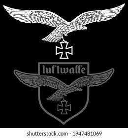 Badge of the German Air Force. Eagle with outstretched wings and iron cross, isolated on black, vector illustration