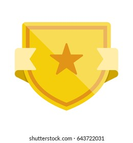 Badge icon with shield and star. Modern flat vector illustration.
