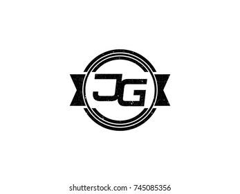 Badge initial letter JG logo vintage black
