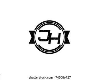Badge initial letter JH logo vintage black