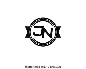 Badge initial letter JN logo vintage black