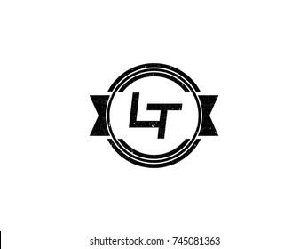 Badge initial letter LT logo vintage black