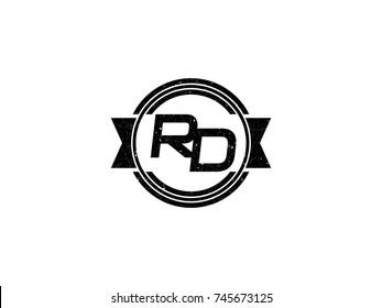 Badge initial letter RD logo vintage black