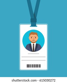 Badge  of the man with a tie of the blonde in cartoon flat style.Identification card for man.ID card with man photo. Plastic identification card