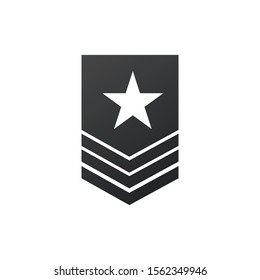 Badge military icon, army chevron with star. Stock Vector illustration isolated on white background.