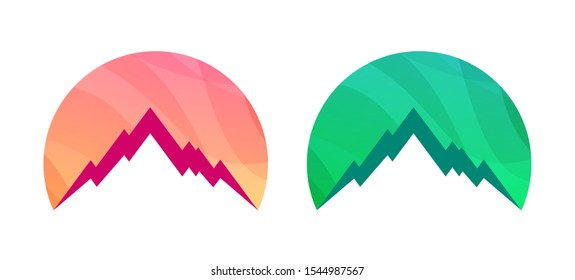 Badge with Mountains isolated on white background. Set of Colorful Vector illustration for Travel Tour. Logotype template of Rock Summit on the background of the Northern Lights.