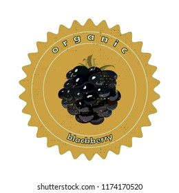 Badge with organic blackberry