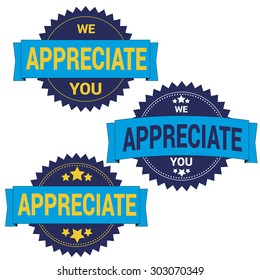 "Badge with phrase ""We appreciate you!"""