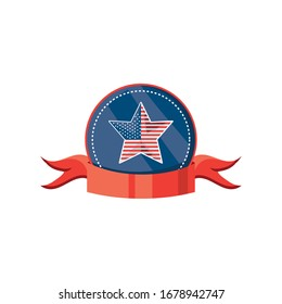 badge with ribbon and american flag on white background vector illustration design