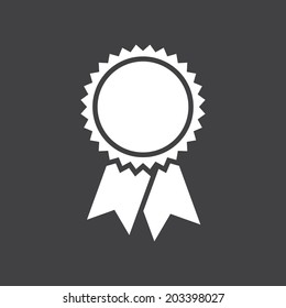 Badge with ribbons icon, vector illustration, simple flat design
