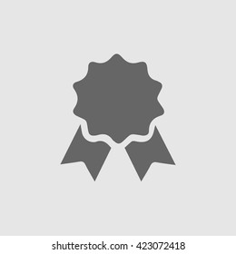 Badge with ribbons vector.  Certificate vector icon. Certification stamp icon. Isolated vector illustration.