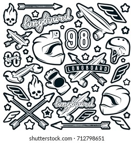 Badge set of longboarding equipment. Graphic design for sticker and t-shirt. Monochrome print on white background