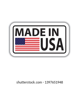 Badge with a shadow and with the inscription made in USA. Made in usa badge with american flag. Made in usa banner with shadow isolated on white.