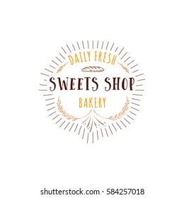 Badge for small businesses - sweet bakery. The pattern printing plate handmade works written by hand font. It can be used in a corporate style, prints, for your design
