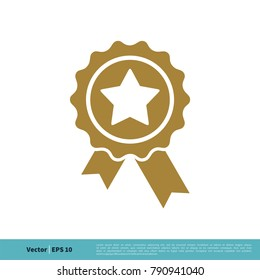 Badge Stamp Ribbon Rosette Winner Sign Icon Vector Logo Template Illustration Design. Vector EPS 10.