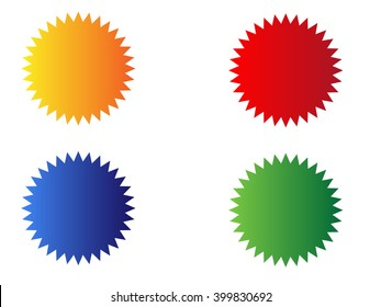 Badge, starburst, price.Vector Illustration