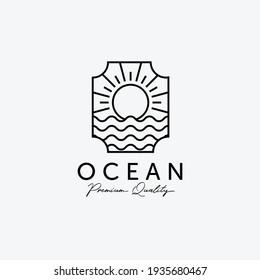 Badge of Sunburst on the Horizon Line Art Logo, Illustration of Marine Water, Design of Beach Sunset, Vector of Sea Maritime Concept