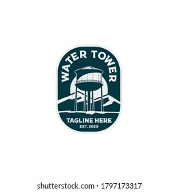 Badge Tank Water Tower Landmark Logo Template Vector