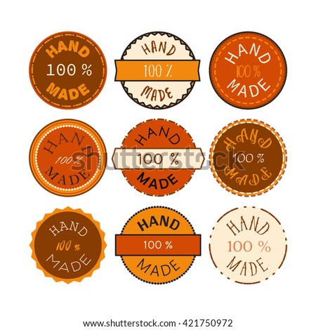 Badge Template 100 Handmade Product Symbol Stock Vector Royalty