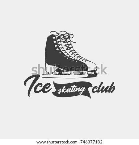badge template ice skating club monochrome stock vector royalty
