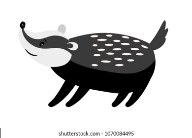 Badger cute black and white cartoon animal, isolated vector icon