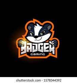Badger Esport gaming logo, Sport mascot logo template