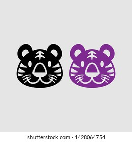 badger head icon color and black