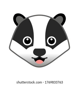 Badger Head Icon Vector Illustration Flat Style isolated on white background.