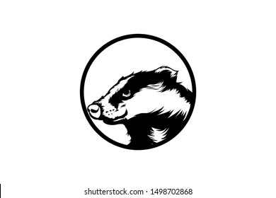 BADGER HEAD LOGO VECTOR LINE