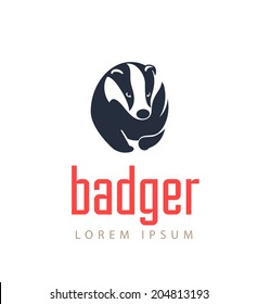 Badger Icon. Animal Emblem Vector.