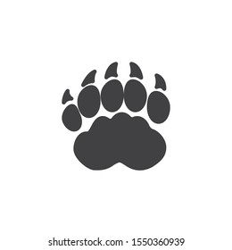 Badger paw print vector icon. filled flat sign for mobile concept and web design. Brock animal footprint glyph icon. Symbol, logo illustration. Vector graphics