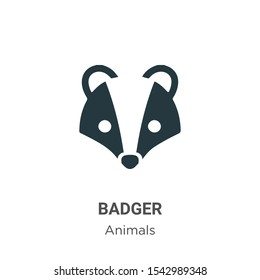 Badger vector icon on white background. Flat vector badger icon symbol sign from modern animals collection for mobile concept and web apps design.