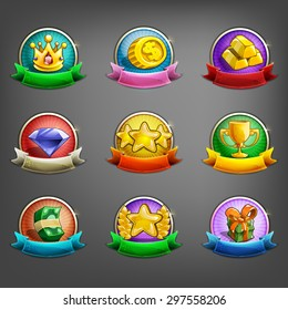 Badges of achievement for games. Vector illustration.