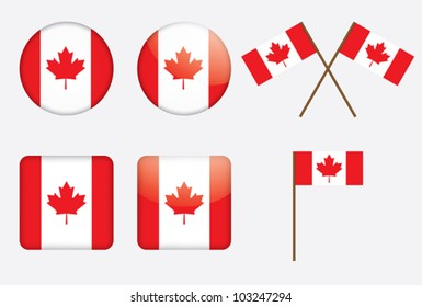 badges with Canadian flag vector illustration