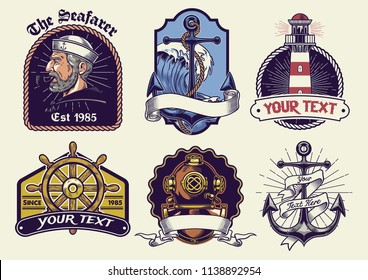 badges design collection nautical in vintage look