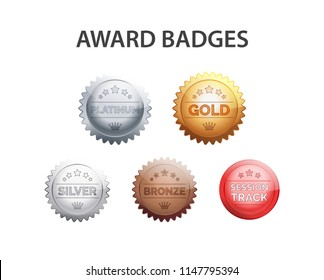 Badges with different rank levels