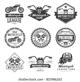 Badges, emblems Motorcycle Collections vector logo set