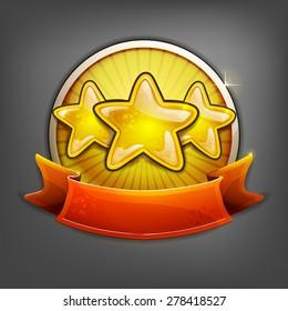 Badges of gold stars. Vector illustration.
