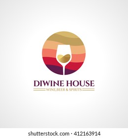 Badges and labels elements for wine shop, bar, restaurant. Logo template for alcohol company. Vector symbol concept