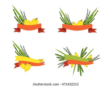 badges and labels of Jewish holiday Sukkot. traditional four species with ribbons