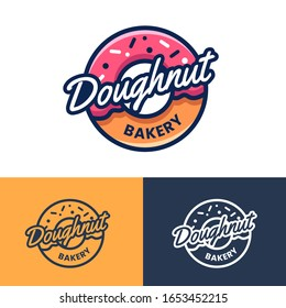 Badges, labels and logo for donut shop and bakery. Modern Donut Logo in vintage cartoon style for coffee shop