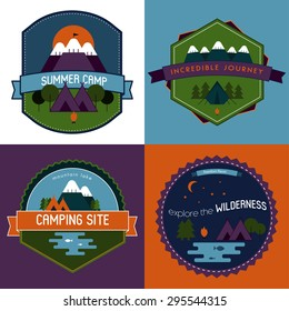 Badges and labels set of camping emblems with mountains, trees, campfire with tent and lake. Outdoor tourism concept logos